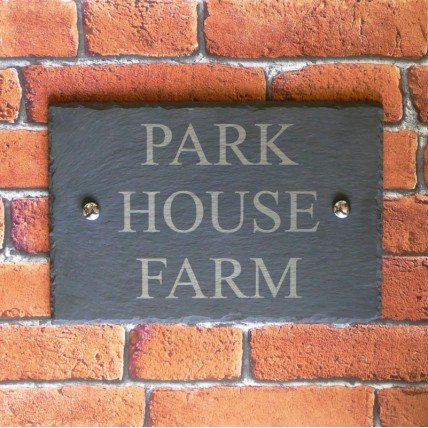 300mm x 200mm Rustic Slate House Sign Surface Engraved With House Name or Number