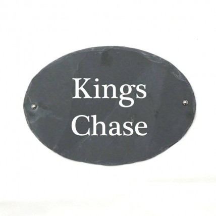 Rustic Oval Slate House Sign 350mm x 240mm