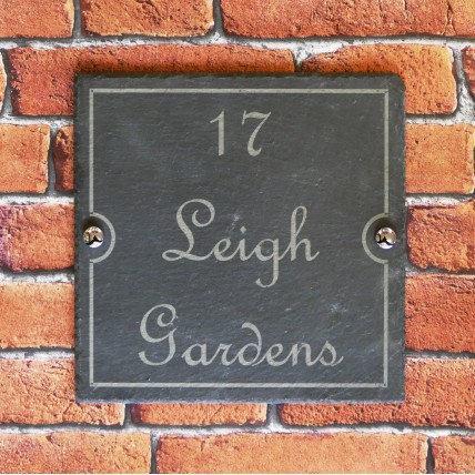 Slate House Sign With Surface Engraved House Name or Number