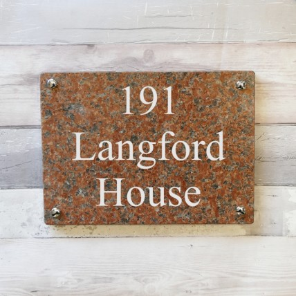 Red Granite House Sign 355mm x 254mm