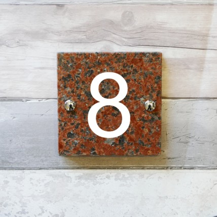 Red Granite House Sign 152mm x 152mm