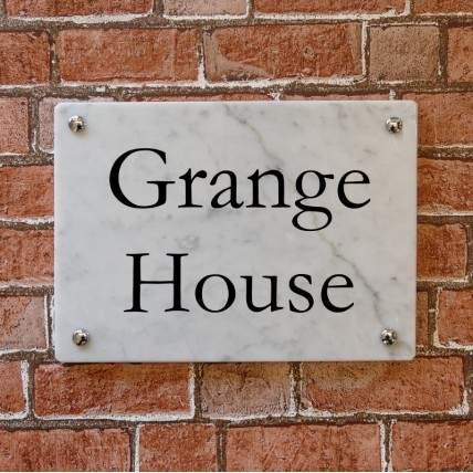 White Marble House Sign 355mm x 254mm