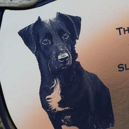 Photo Engraved Dog Memorial Stone