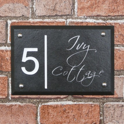 Bevelled Edge Slate House Sign 250mm x 170mm
