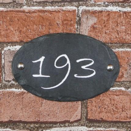 Rustic Oval Slate House Sign