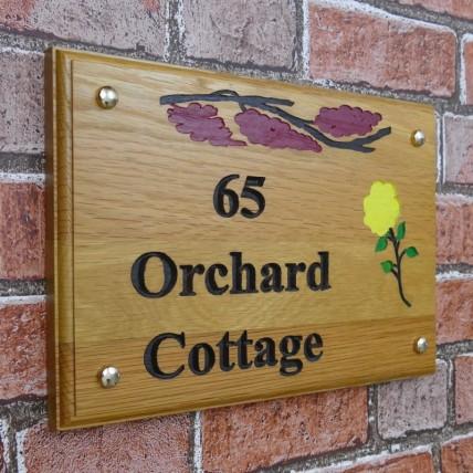 Solid Oak Wood House Number 305mm x 205mm
