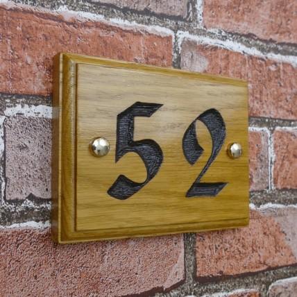 Solid Oak Wood House Number 152mm x 115mm