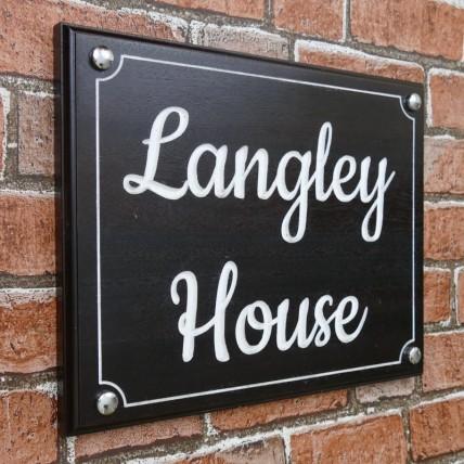 Solid Mahogany Wood House Sign 355mm x 285mm